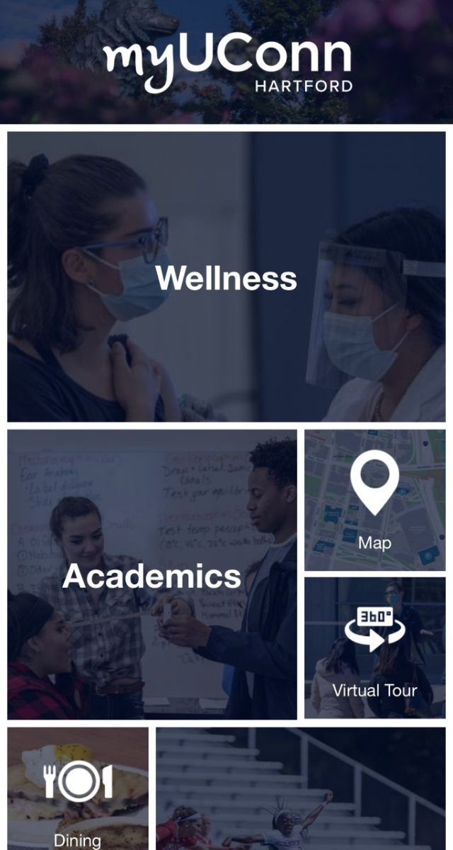 The image is a screenshot of the home page of myUConn-Hartford.